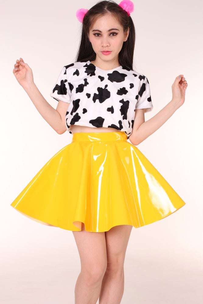 Made To Order Yellow Pvc Skirt By Gfd Glitters For Dinner