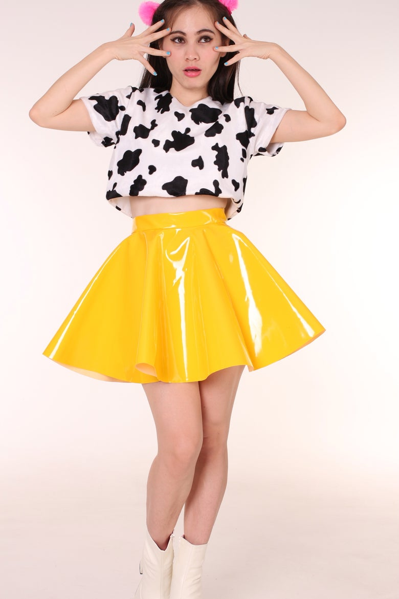 Image of Made To Order - Yellow PVC Skirt By GFD
