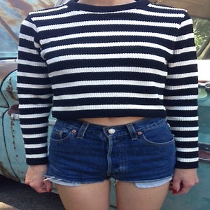 Image of Girls Crop Sweater Blk/Wht