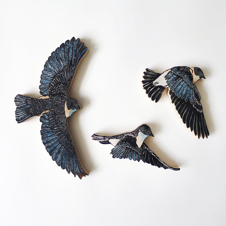 Image of Set of 3 Eastern Blue Bird Woodcut Sculpture Prints