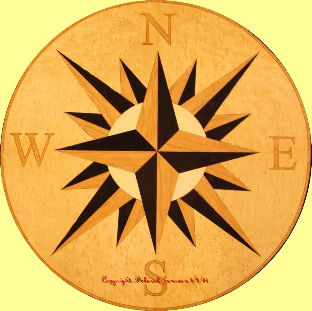 Image of Item No. 118 Marquetry Navigational Compass.