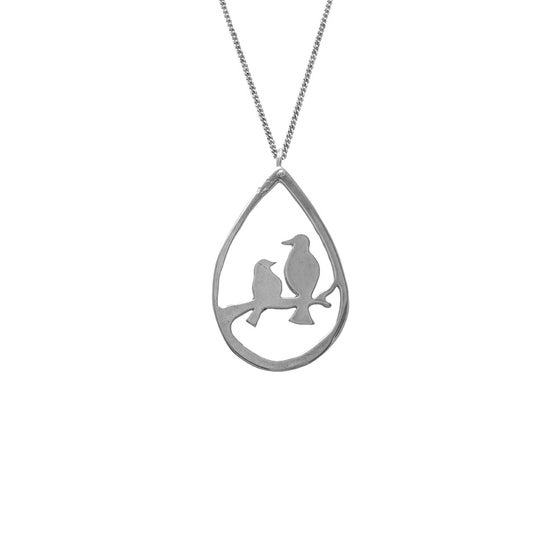 Image of Lovebirds Necklace Teardrop