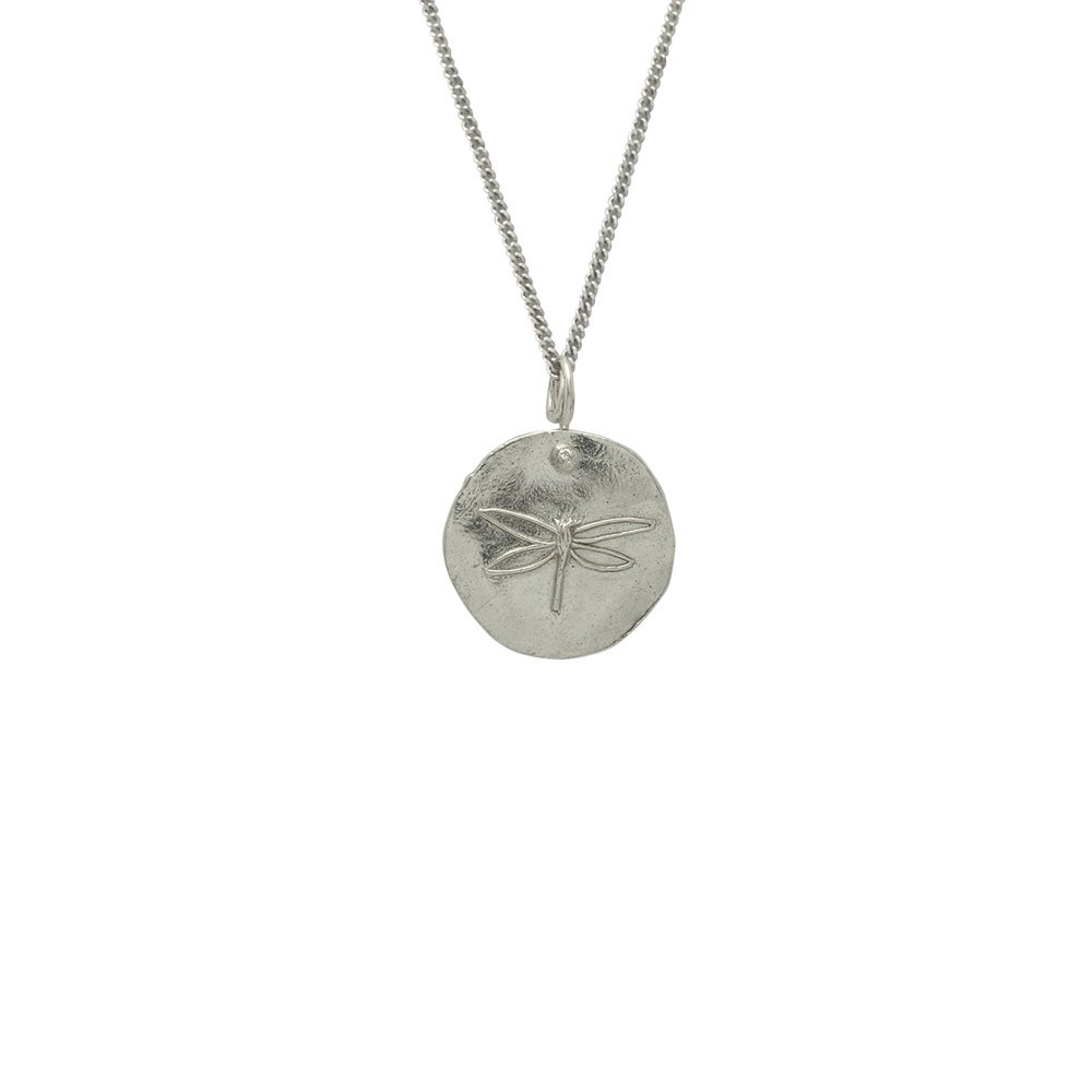 Image of Silver Medallion Necklace Dragonfly, Peace