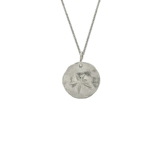 Image of Silver Medallion Necklace Sand Dollar, Close to Nature