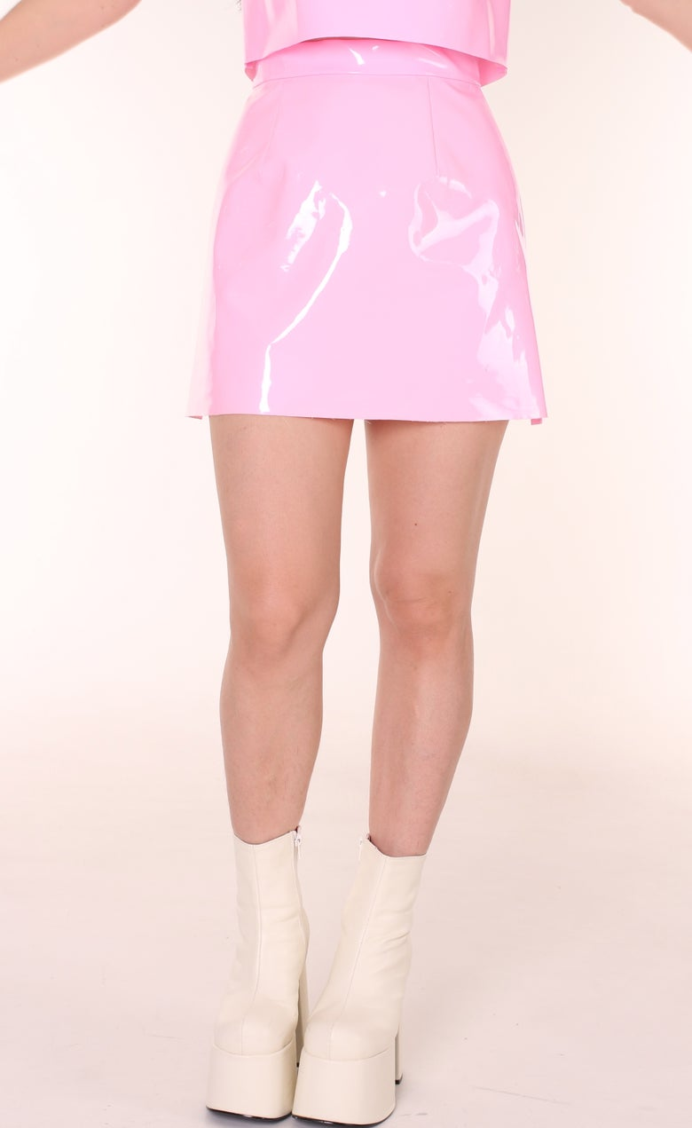 Image of Made To Order - Pink PVC Motel Skirt By GFD