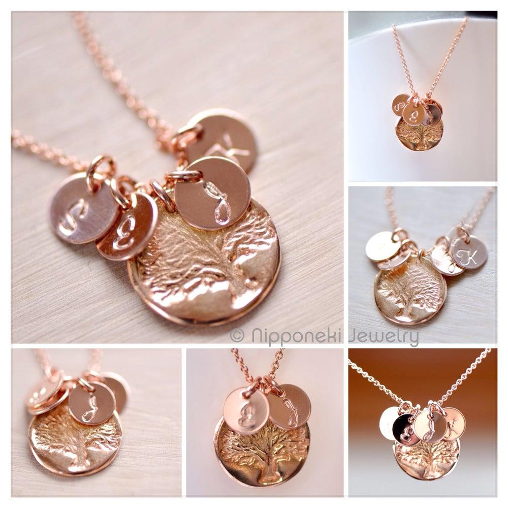 Rose gold vermeil family tree charm personalized for Rose gold personalized jewelry