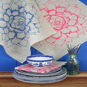 Image of Succulent Flower Linen Napkins {set of two}