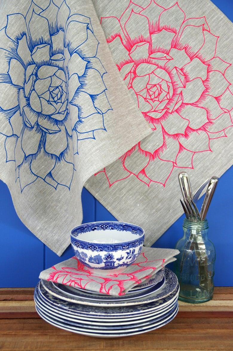 Image of Succulent Flower Linen Napkins {set of two}
