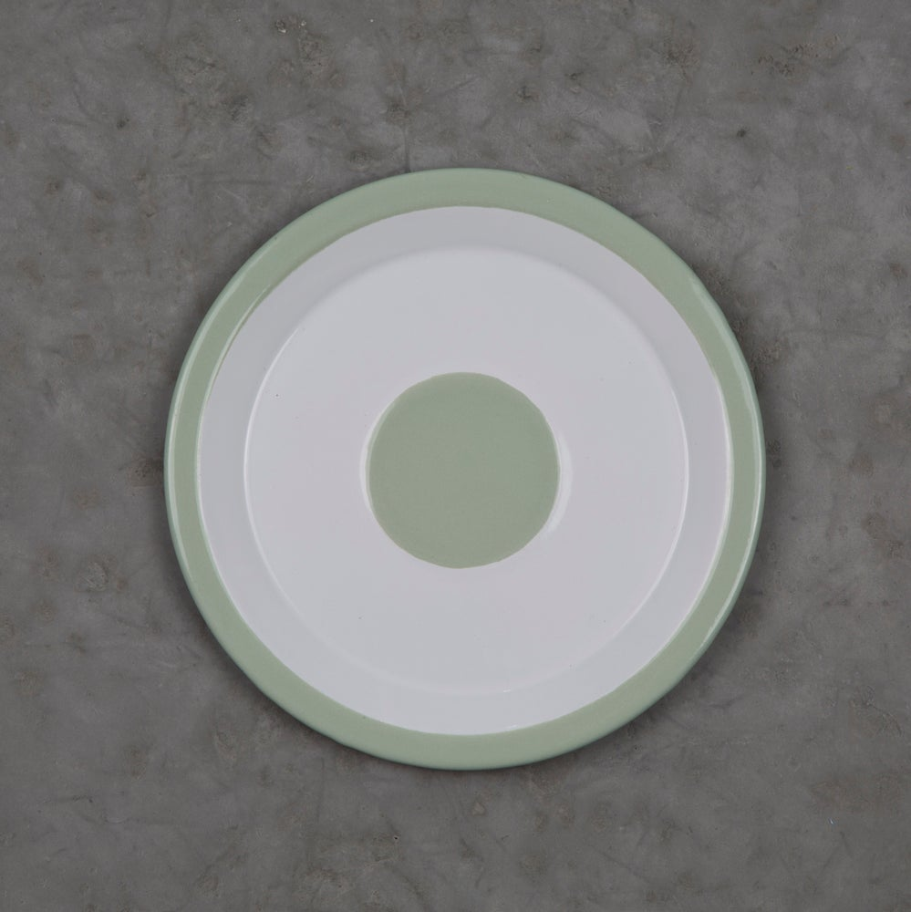 Image of Enamel Plate GREEN ALMOND 18cm