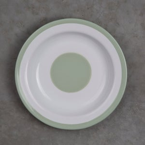 Image of Deep Enamel Plate GREEN ALMOND 22cm
