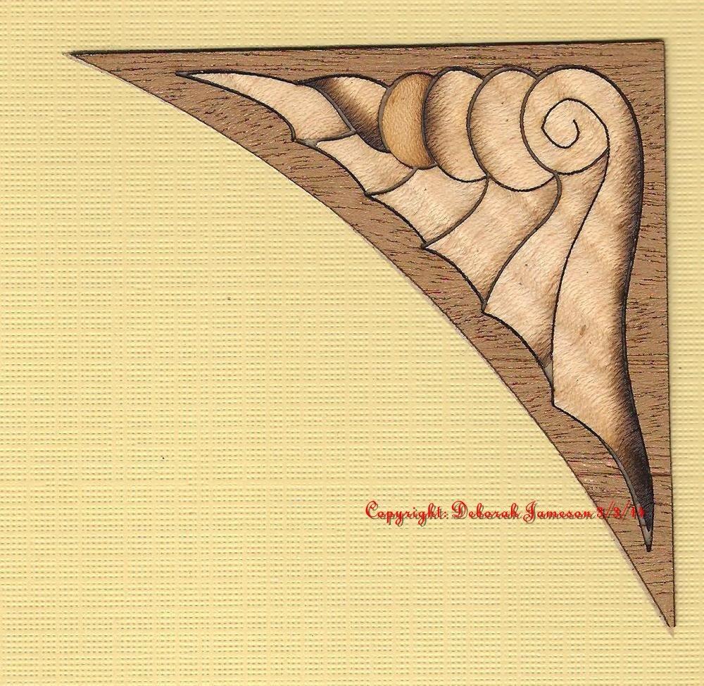 Image of Item No. 208.  Marquetry Inlay Veneer Corner Shell Design.