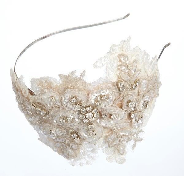 Clarisse Lace & Diamante Bridal Headpiece - Laura Pettifar Designs