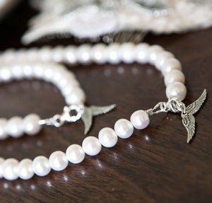 Serenity Bridal Necklace with Fresh Water Pearls - Laura Pettifar Designs