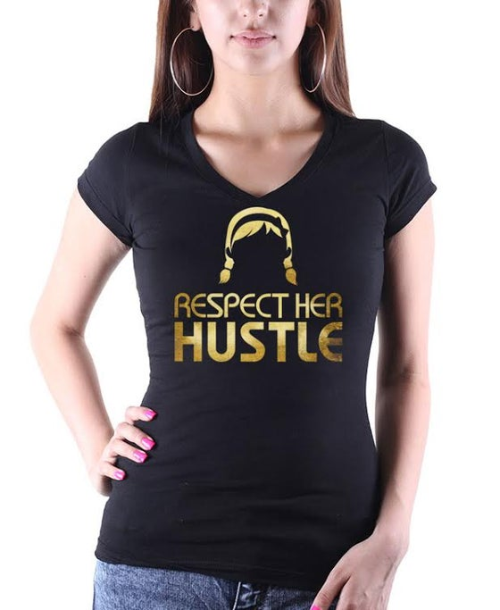 Image of Respect HER Hustle Women's V-neck T-Shirt