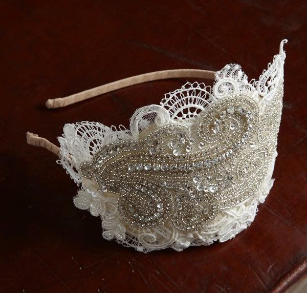 Rosa - Lace and Bead Bridal Headpiece - Laura Pettifar Designs