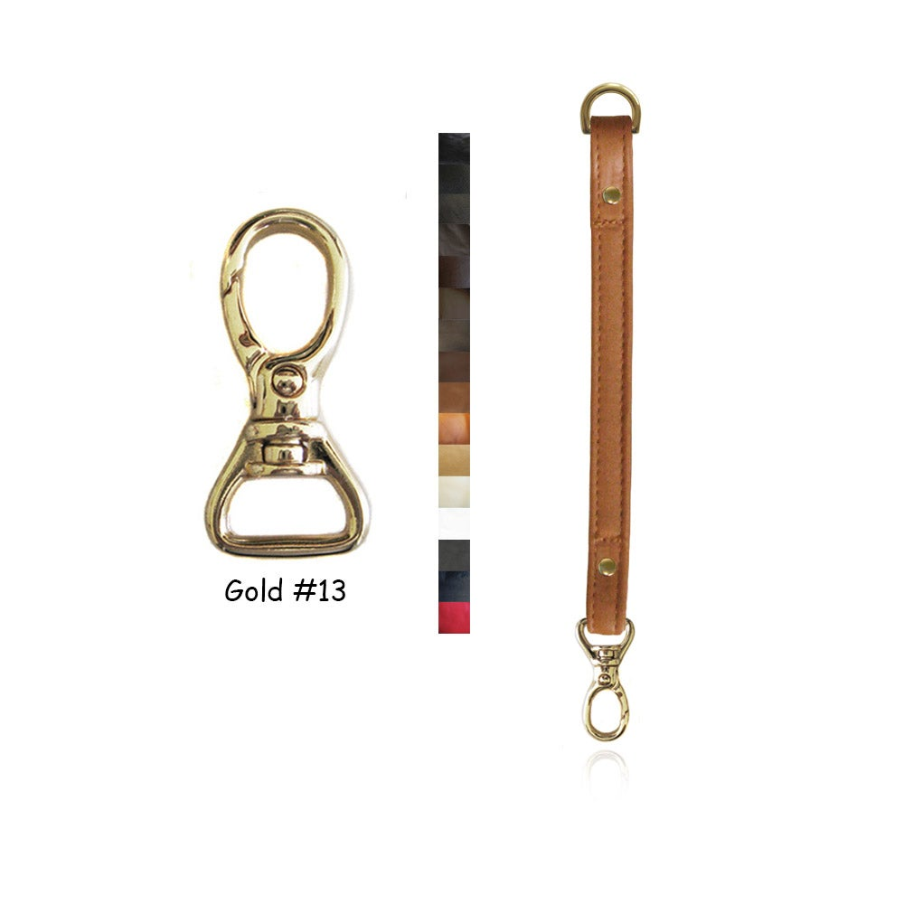 "Image of Leather Purse Strap Extender - .5"" (inch) Wide - Gold #13 Swivel Hook - Choice of Color & Length"