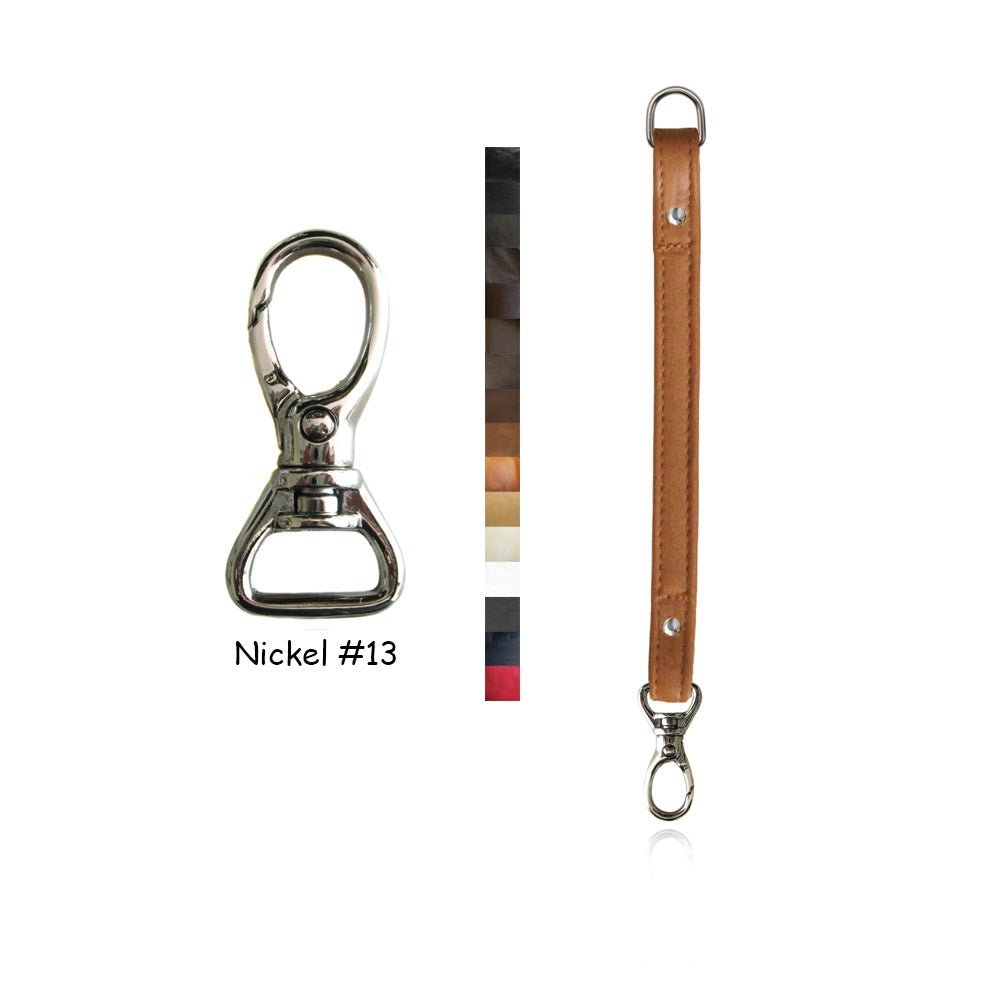 "Image of Leather Purse Strap Extender - .5"" (inch) Wide - Nickel #13 Swivel Hook - Choice of Color & Length"