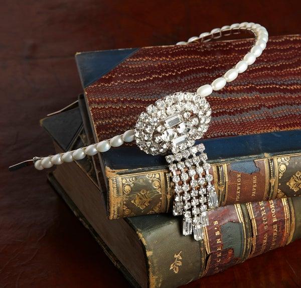 Dolores Vintage Diamante and Pearl Headpiece - Laura Pettifar Designs