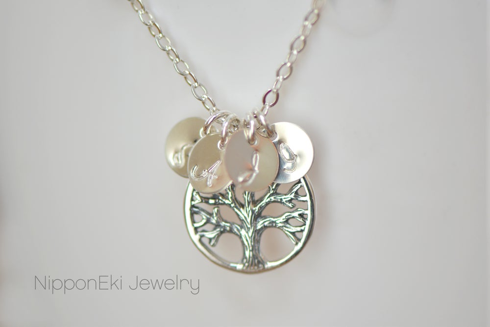 Image of Sterling Silver Family Tree Charm Initial Necklace
