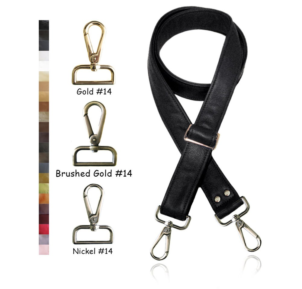 """Image of 55"""" (inch) Adjustable Leather Purse Strap - 1.5"""" (inch) Wide - Your Choice of Color & Hook #14"""