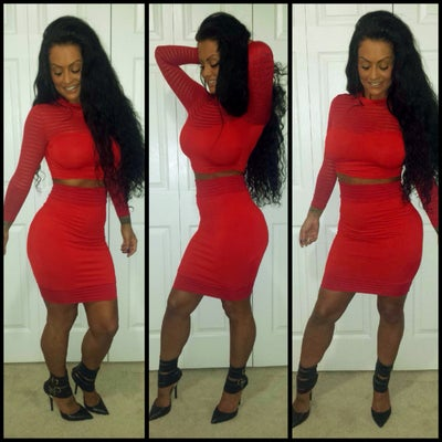 Image of Red Stripe Mesh Two Piece Skirt Set