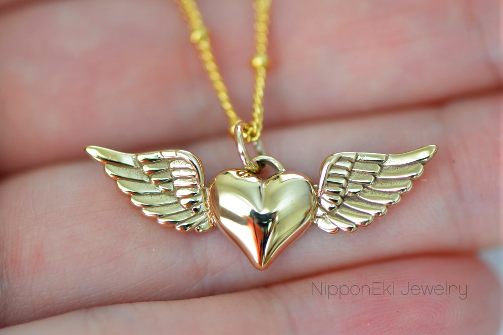 Gold Heart With Wings Charm Necklace Nipponeki Jewelry