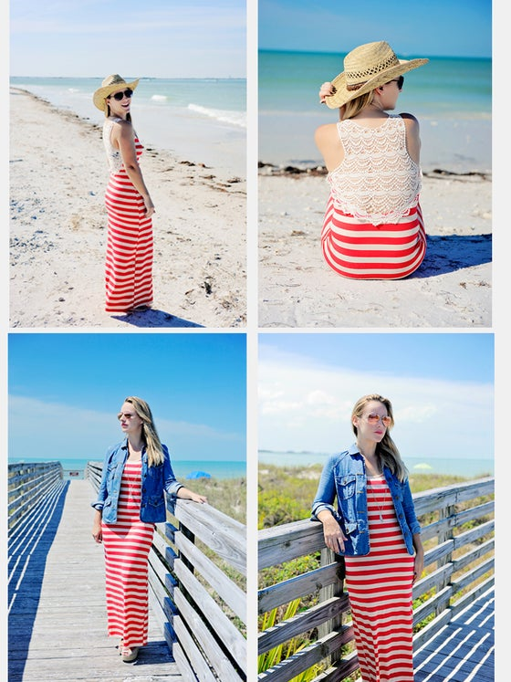 Image of Berry Striped Maxi Dress with Crochet Back- with Free Shipping!