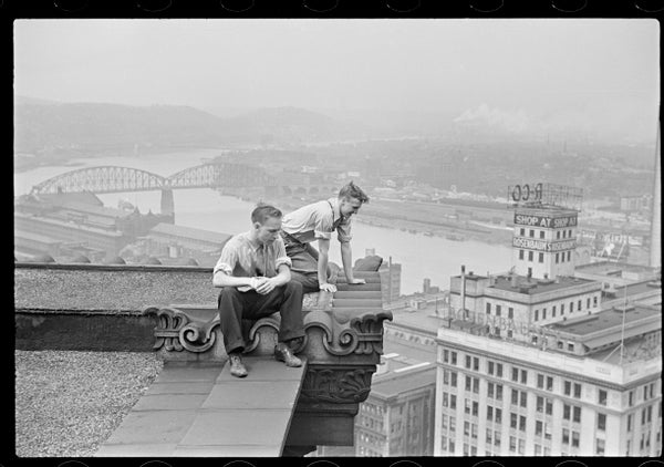 Image of Two Friends On A Rooftop; Pittsburgh 1937