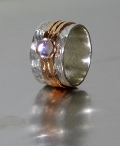 Image of Alternative Engagement Ring with Rainbow Moonstone - Engraved Spinner ring