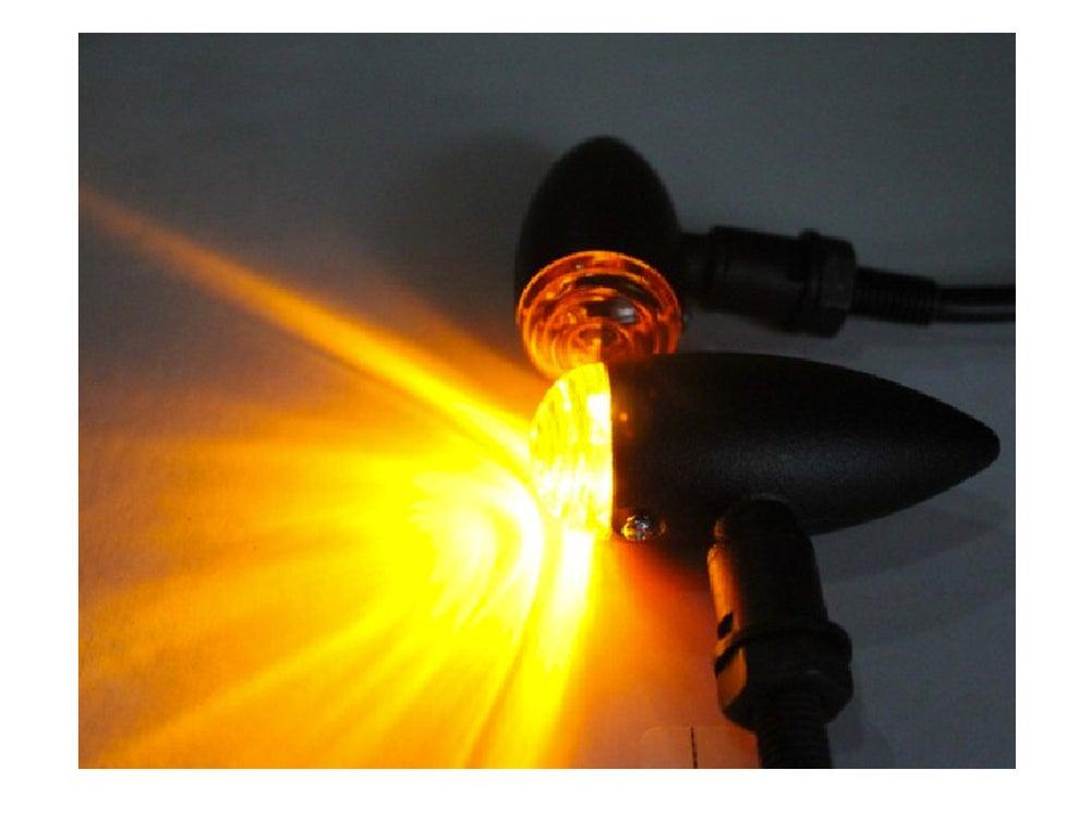 Image of Cafe Racer Mini Bullet Indicators Amber Lens Sand Blast Finish