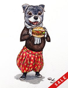 """Image of """"Staffy with a burger"""" original painting"""