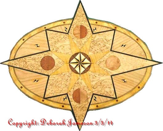 Image of Item No. 390. Masur Birch Nautical Compass Star Item.