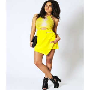 Image of Yellow and Nude Lace Skort Jumper Set
