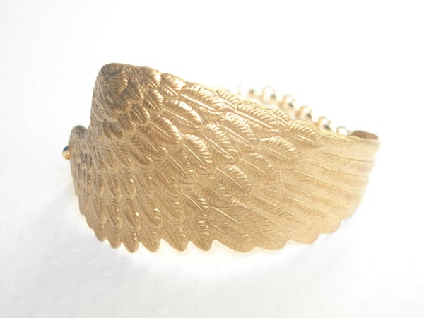 Image of Large angel wing cuff bracelet