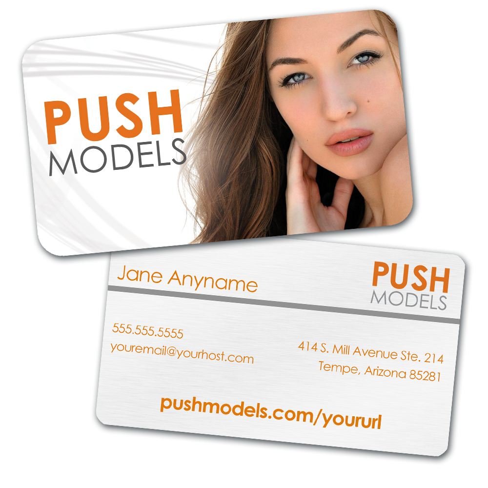 Image Of Personalized Push Models Business Card With Custom Headshot