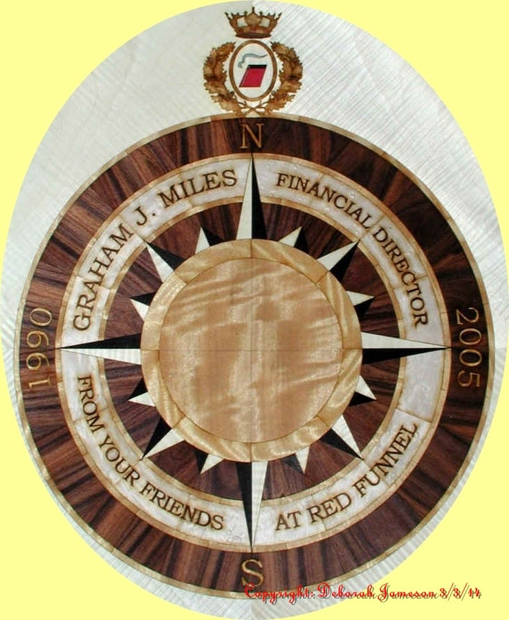 Image of Item No. 110.  PERSONALISED MARQUETRY INLAY NAUTICAL COMPASS.