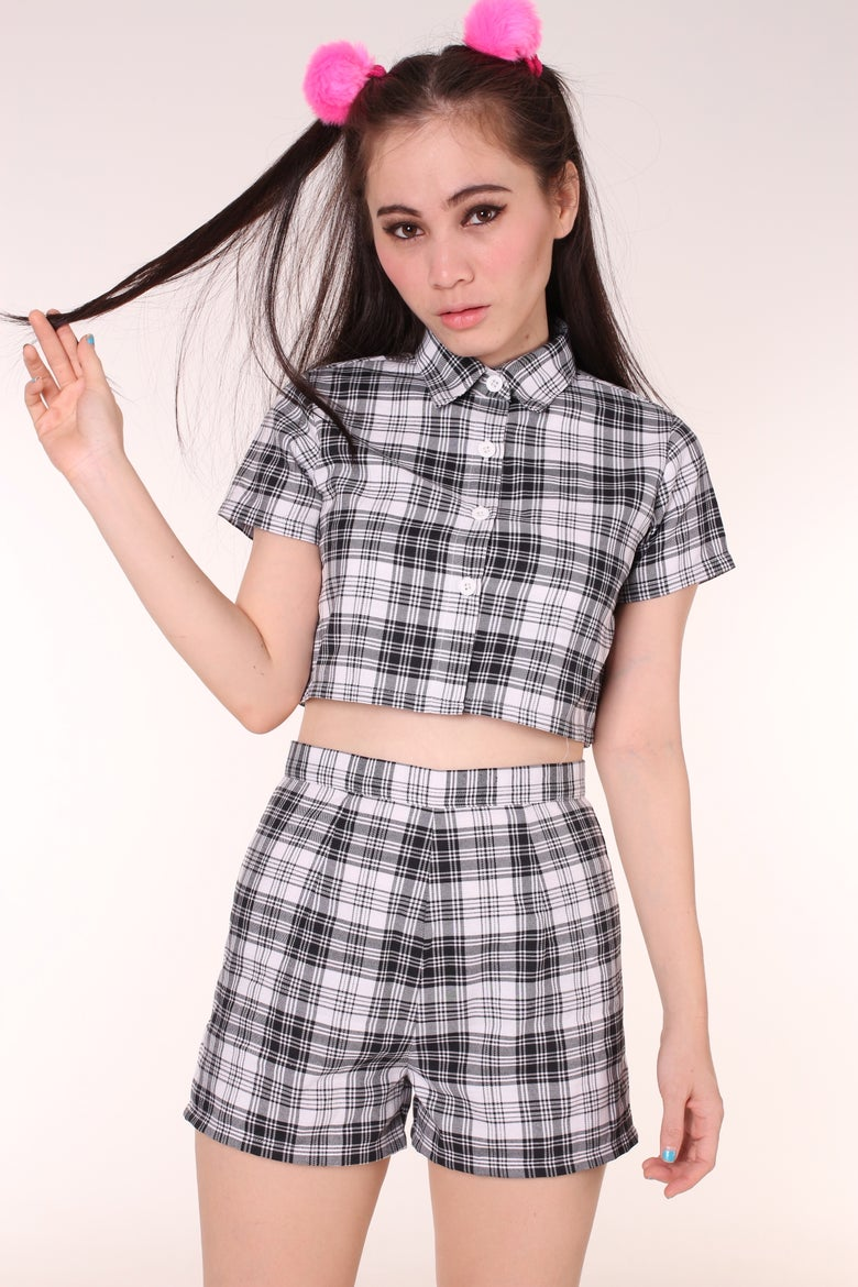Image of  Katie Tartan Top & Shorts Set in Grey