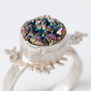 Image of Botanical Rainbow Druzy Quartz Fern Ring
