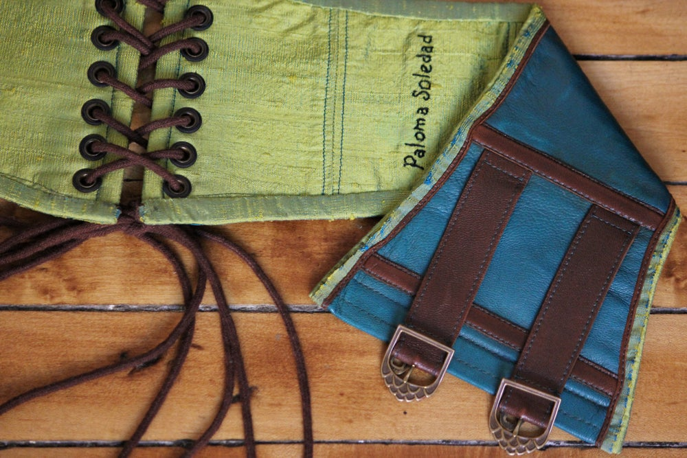Image of Teal Leather Corseted Belt