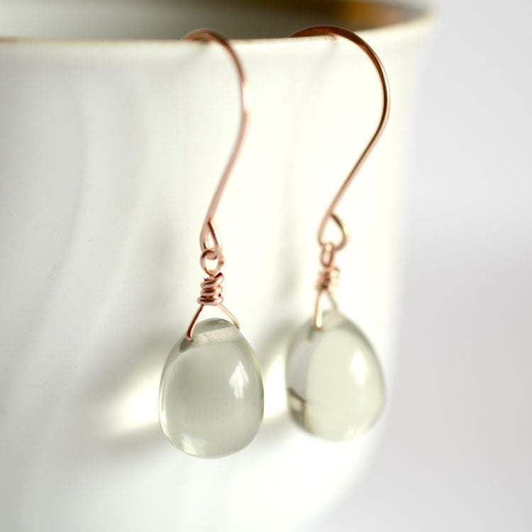 Image of Pale gray glass drop earrings