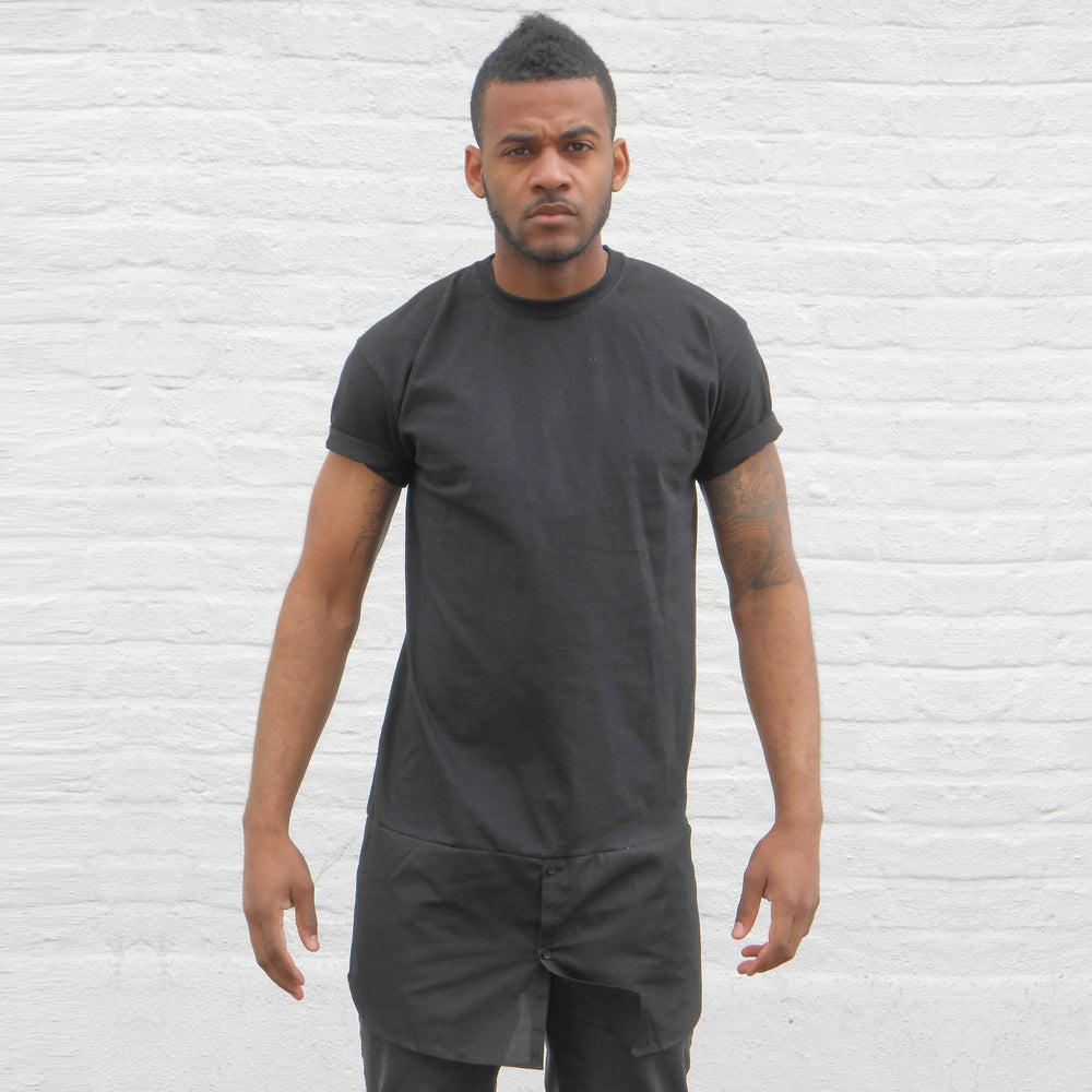 Image of Black T-Shirt With Shirt Bottom Panel.