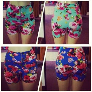 Image of Floral high waist shorts