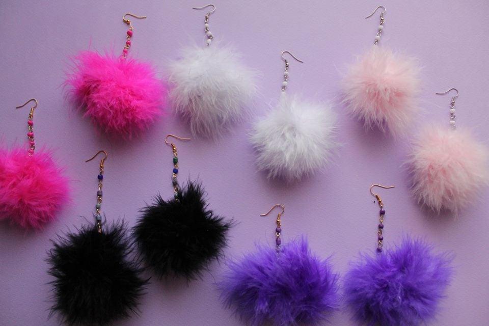 Image of Beaded Pom Pom Earrings