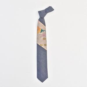 Image of chambray ikebana color block tie
