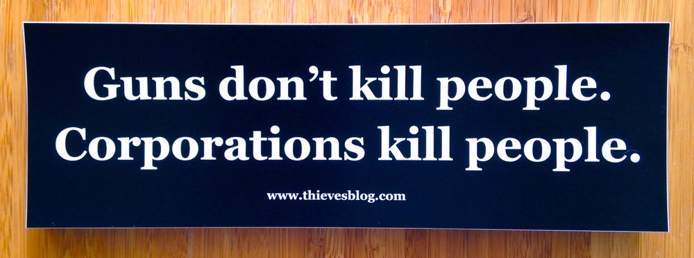 "Image of ""Guns don't kill"" bumper sticker"