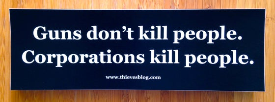 "Image of ""Guns don't kill"" bumper sticker"