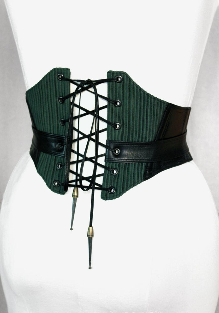 Image of Black Leather and Hunter Corduroy Corseted Belt
