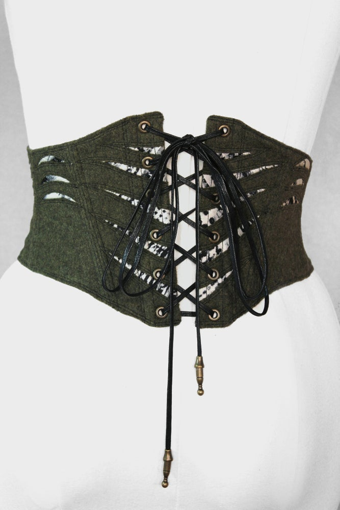 Image of Olive Wool with Black/White Cutout Corseted Belt