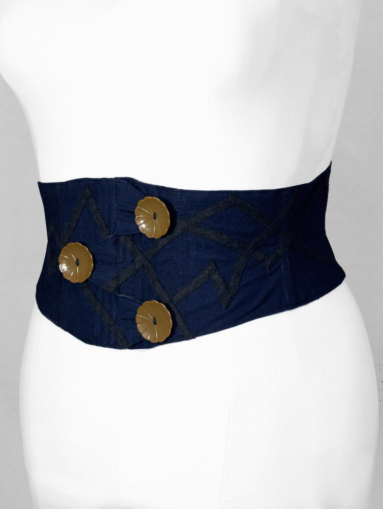 Image of Indigo with Bakelite Flower Button Corseted Belt