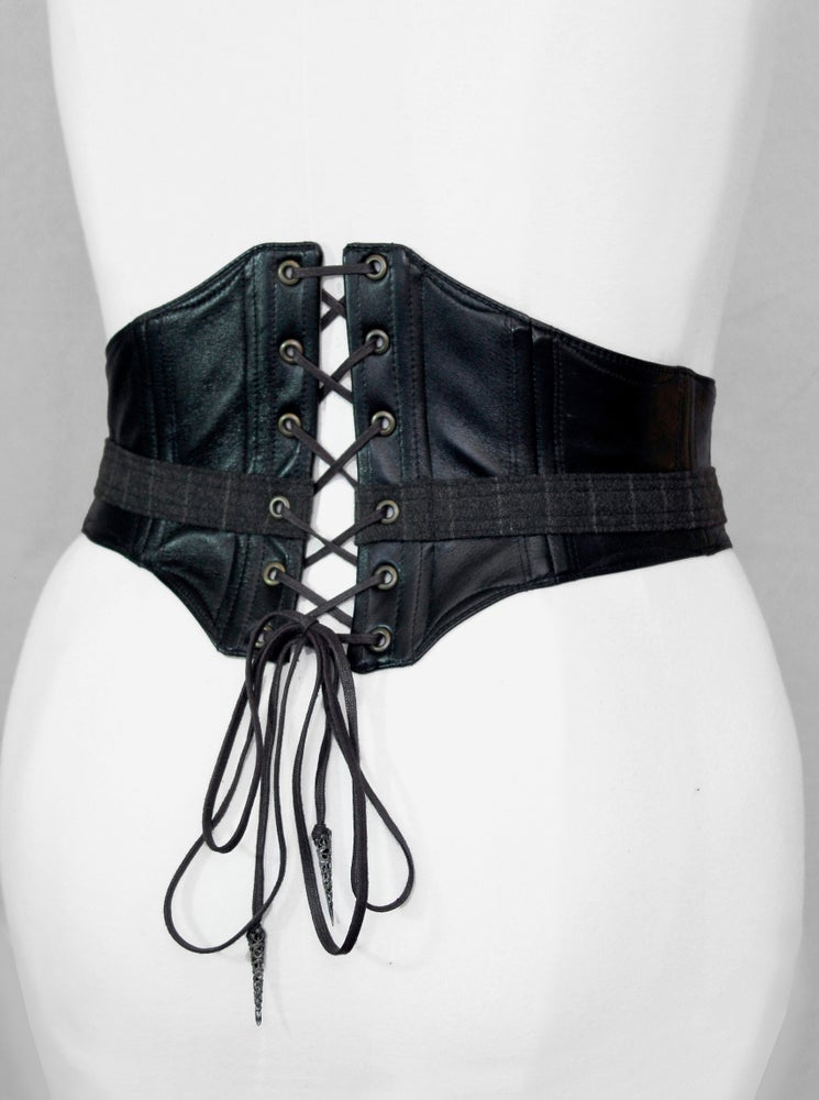 Image of Black Leather and Stripe Wool Corseted Belt